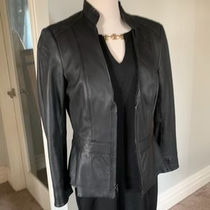 EUC WHBM black leather mandarins collar jacket